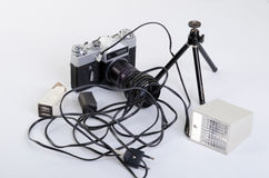 Старый комплект для фотографа Стоковые Фотографии RF