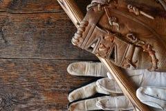 Старый конец оборудования бейсбола вверх Стоковое Изображение RF
