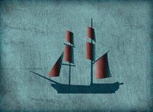 Старый корабль на винтажной устаревшей предпосылке Стоковое Изображение RF