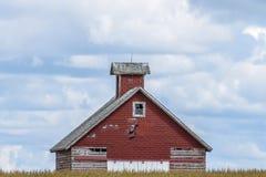 Старый красный амбар в Айове стоковое фото rf