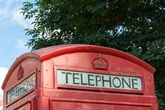 Старый красный великобританский конец переговорной будки вверх Стоковые Изображения