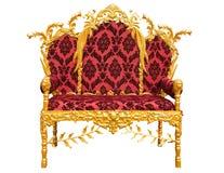 Старый красный золотой трон короля изолированный над белизной бесплатная иллюстрация