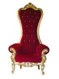 Старый красный золотой трон короля изолированный над белизной стоковое фото rf