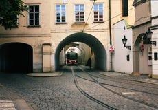 старый красный трам Стоковые Фото