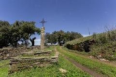 Старый крест в поле Стоковые Изображения RF