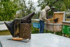 Старый курильщик пчелы Инструмент пчеловодства Beekeeper работает на пасеке около крапивниц стоковое изображение