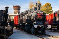 Старый локомотив пара в музее поезда, Будапеште Стоковые Фото