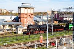 Старый локомотив пара около станции Podmoskovnaya стоковое фото rf