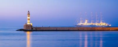 Старый маяк в Chania, Крите Стоковая Фотография RF