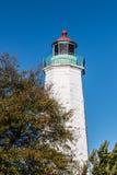 Старый маяк комфорта пункта в Hampton, Вирджинии Стоковая Фотография RF