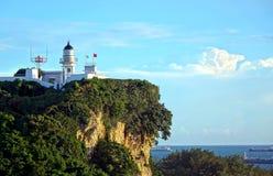 Старый маяк обозревая гавань Kaohsiung Стоковые Фотографии RF
