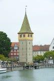 Старый маяк Lindau, озеро Констанция Стоковые Изображения