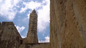 Старый минарет в старом городе Иерусалима видеоматериал