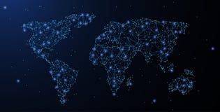 Старый Мир карты иллюстрации Полигональная сетка wireframe выглядеть как созвездие Иллюстрация или предпосылка концепции бесплатная иллюстрация