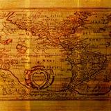 Старый Мир карты картоведения предпосылки grungy Стоковое Изображение RF