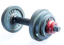 Старый модельный вес гантели на белой предпосылке Стоковое Изображение RF