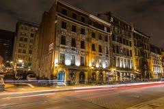 Старый Монреаль на ноче Стоковая Фотография