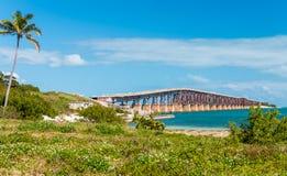 Старый мост на островах ключей, FL Стоковые Фотографии RF
