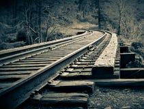 Старый мост следа поезда над рекой Eatonville Mashel, Вашингтоном Стоковые Изображения