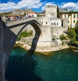 Старый мост Stari больше всего в Мостаре, Боснии Стоковое Изображение