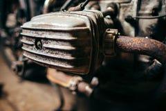 Старый мотор мотоцикла Стоковые Фотографии RF
