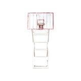 Старый обруч баскетбола, с путем клиппирования стоковые фотографии rf