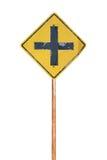 Старый дорожный знак пересечения вперед Стоковая Фотография RF