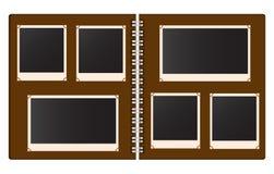 Старый открытый фотоальбом с пустыми фото vector иллюстрация Стоковая Фотография
