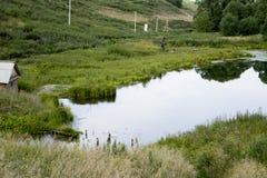 Старый парк с прудами Стоковые Фотографии RF