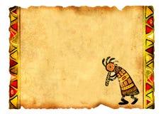Старый пергамент с африканскими традиционными картинами Стоковая Фотография