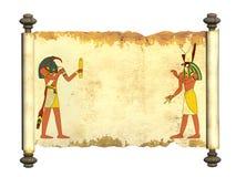 Старый пергамент с египетскими богами отображает Toth и Horus Стоковое Изображение RF