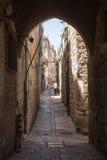Старый переулок в еврейском квартале Израиль Иерусалим Стоковое Изображение RF