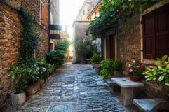 Старый переулок в Groznjan, Хорватии стоковые фото