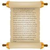 Старый перечень с текстом библии Пергамент реалистический Винтажный перечень чистого листа бумаги изолированный на белой предпосы иллюстрация штока