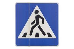 Старый пешеходный переход ` ` дорожного знака изолированного на белизне иллюстрация штока