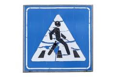 Старый пешеходный переход ` ` дорожного знака изолированного на белизне иллюстрация вектора