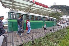 Старый пиковый поезд на ориентир ориентире пика Виктории, Гонконге Стоковое фото RF