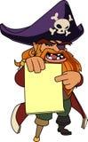 Старый пират держа бумагу Иллюстрация вектора