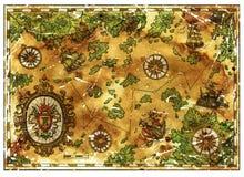 Старый пират treasures карта с барочным знаменем и старыми сосудами иллюстрация штока