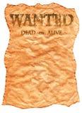 старый плакат хотел западное одичалое Стоковая Фотография