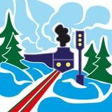 Старый поезд и ландшафт зимы Стоковая Фотография RF