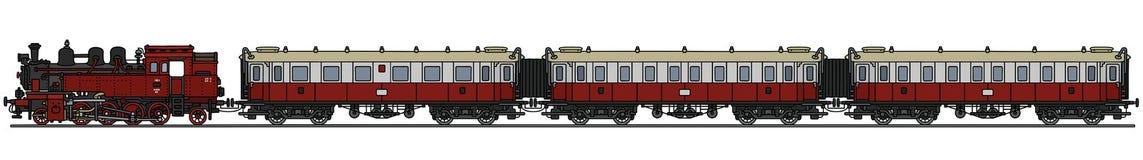 Старый поезд пара пассажира Стоковые Изображения