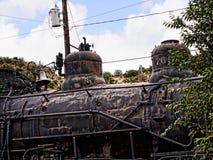 Старый поезд Topeka Atchison и железной дороги Санта-Фе в Мадриде Неш-Мексико США Стоковые Фотографии RF