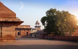 Старый покинутый город Fatehpur Sikri, XVI столетие Агра, Уттар-Прадеш, Индия стоковая фотография rf