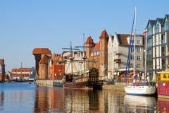Старый портовый район городка над Motlawa, Гданьском Стоковая Фотография RF