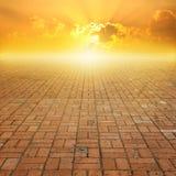 Старый пол и заход солнца кирпича для предпосылки Стоковые Изображения RF