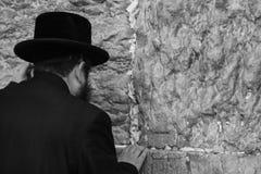 Старый правоверный еврей вставляет примечание в западную стену или стену  Стоковые Фотографии RF