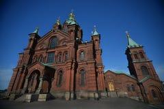 Старый правоверный собор Uspenski в столице Финляндии Стоковое Изображение RF