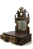 Старый предмет мебели с ящиками и зеркалом стоковое фото