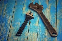 Старый раздвижной ключ Стоковые Изображения